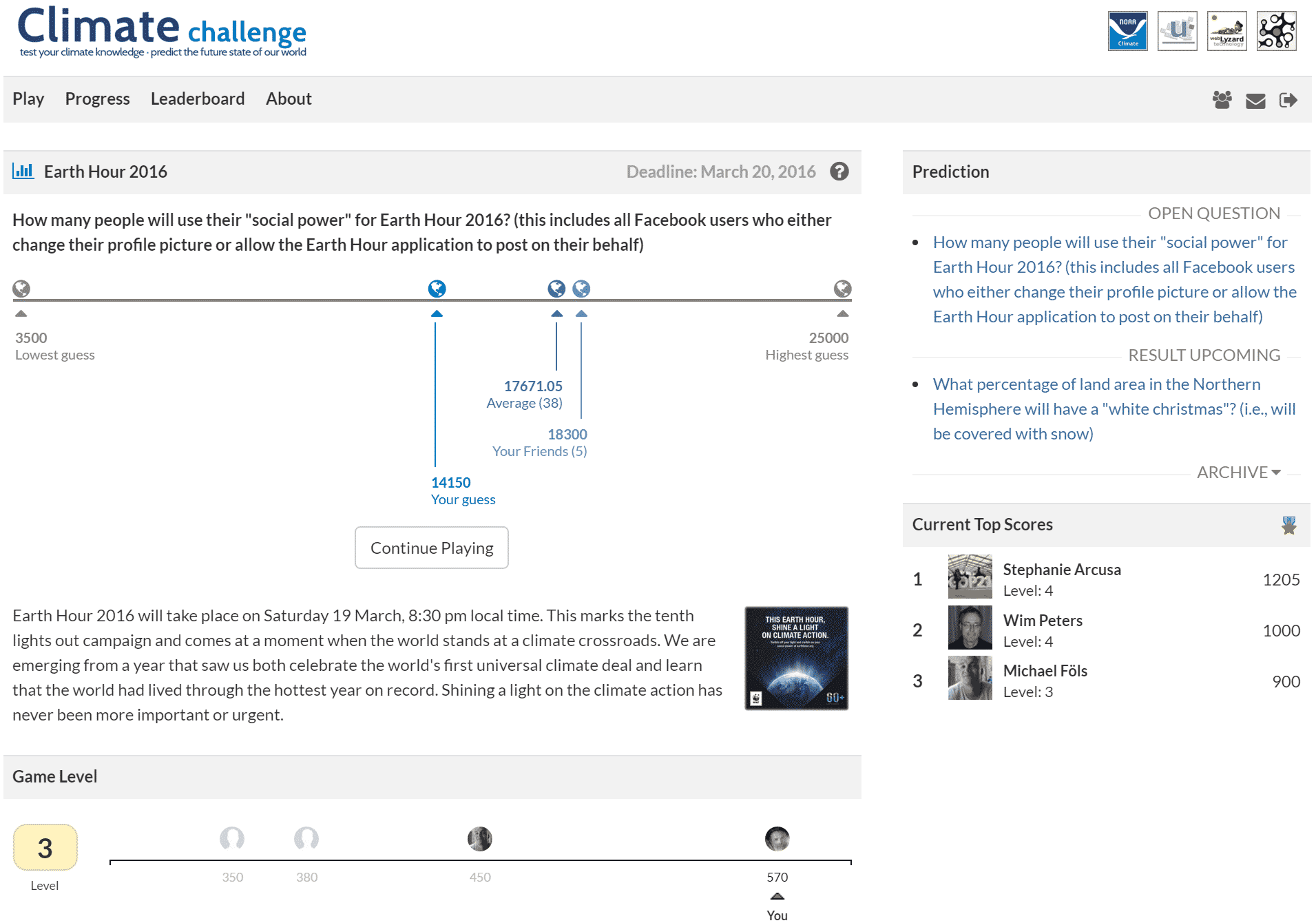 Screenshot of the Climate Challenge Prediction Task